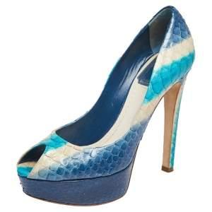Dior Multicolor Python Leather Peep Toe Platform Pumps Size 36
