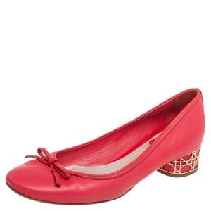 Dior Pink Leather Block Heel Bow Pumps Size 38