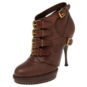 Dior Brown Leather Cavaliere Platform Ankle Boots Size 36.5