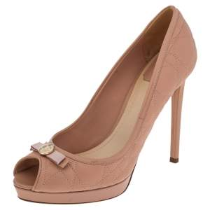 Dior Pink Cannage Leather Bow Peep Toe Pumps Size 39