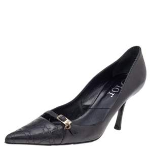 Dior Black Cannage Leather Buckle Pointed Toe Pumps Size 37.5