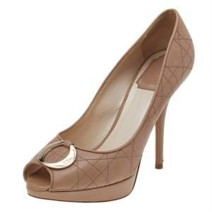 Dior Beige Cannage Leather Peep Toe Pumps Size 37