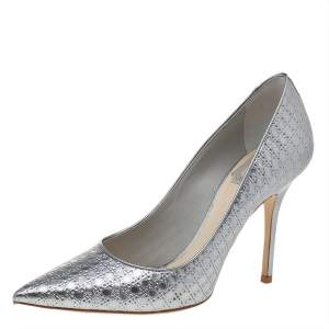 Dior Metallic Silver Cannage Leather Pointed Toe Pumps Size 37.5