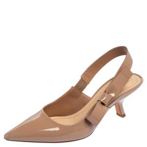 Dior Beige Patent Leather Sweet Dior Pumps Size 36.5
