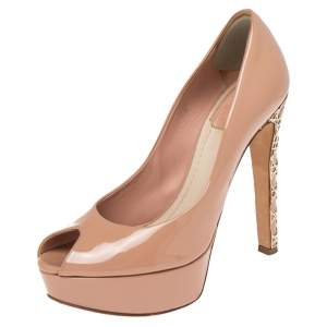 Dior Beige Patent Leather Peep Toe Cannage Heel Platform Pumps Size 35.5