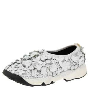 Dior White Perforated Leather Floral Fusion Slip On Sneakers Size 36
