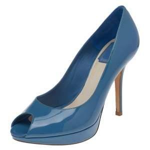 Dior Blue Patent Leather Miss Dior Peep Toe Platform Pumps Size 37