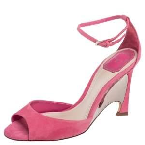 Dior Pink Suede Optique Wedge Sandals Size 40