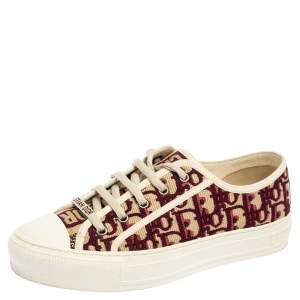 Dior Burgundy/White Oblique Cotton Walk'n'Dior Low Top Sneakers Size 38