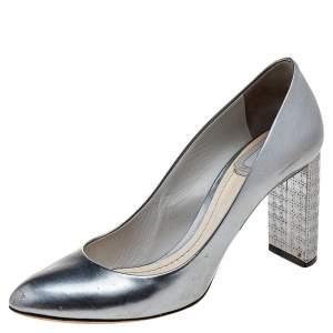 Dior Metallic Grey Patent Leather Cannage Block Heel Pumps Size 37.5