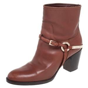 Dior Brown Leather Buckle Detail Ankle Boots Size 36.5