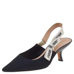 Dior Black Fabric J'Adior Slingback Sandals Size 37.5