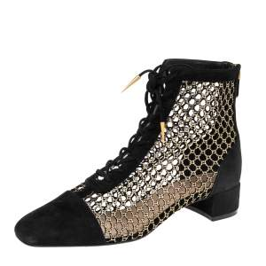 Dior Black Suede and Fabric Naughtily-D Ankle Boots 37