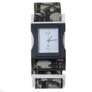 ساعة يد نسائية ديور D100-321  ألومنيوم وكانفاس بيضاء 30 مم