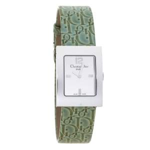 Christian Dior Silver Stainless Steel Leather Malice D79-109 Women's Wristwatch 19 mm