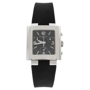 ساعة يد نسائية ديور ريفا دي81-100 مطاط ستانلس ستيل سوداء 31 مم
