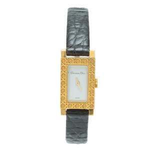 Dior White Dial 18k Yellow Gold Rectangular Multi-Strap Women's Watch 19MM