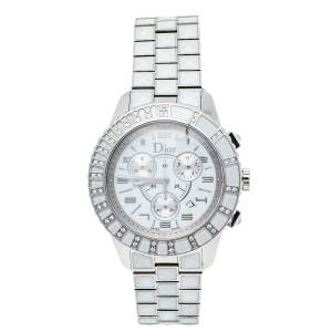 Dior White Stainless Steel Diamonds Christal CD114311 Women's Wristwatch 38 mm
