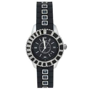 Dior Black Stainless Steel & Rubber Diamonds Christal CD113115R001 Women's Wristwatch 33 mm