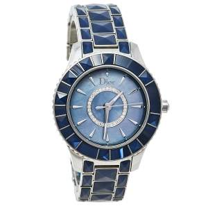 Dior Blue Mother Of Pearl Stainless Steel Christal CD143117 Women's Wristwatch 33 mm