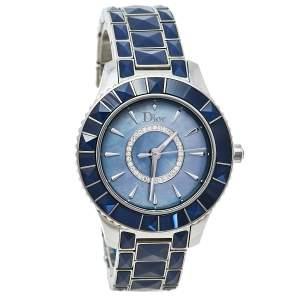ساعة يد نسائية ديور شريستال سي دي143117 ستانلس ستيل و صدف زرقاء 33 مم
