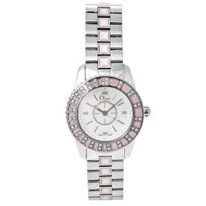 Dior Mother of Pearl Stainless Steel Diamonds Christal CD112111M001 Women's Wristwatch 28 mm