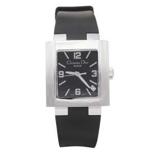 Christian Dior Black Stainless Steel Rubber Riva D101-100 Women's Wristwatch 31 mm