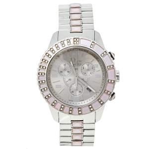 Dior Silver Stainless Steel Diamond Studded Pink Sapphire Christal CD114315M001 Women's Wristwatch 39 mm
