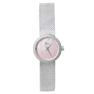 Dior Pink Mother of Pearl Stainless Steel Diamond La D De Dior Satine CD047112M002 Women's Wristwatch 25 mm