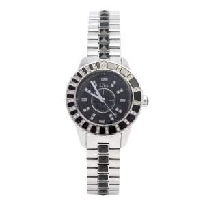 Dior Black Stainless Steel Diamonds Christal CD113115M001 Women's Wristwatch 34 mm