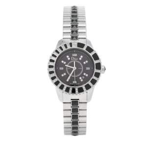 Dior Black Stainless Steel Diamonds Christal CD113115M001 Women's Wristwatch 33 mm