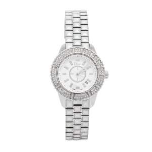 Dior White Stainless Steel Diamonds Christal CD113118M001 Women's Wristwatch 33 mm