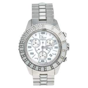 Dior White Stainless Steel Christal CD114311 Women's Wristwatch 38 mm