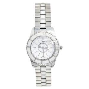 Dior White Stainless Steel Christal CD112112M001 Women's Wristwatch 28 mm