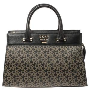 DKNY Black Signature Coated Canvas and Leather Ava Tote