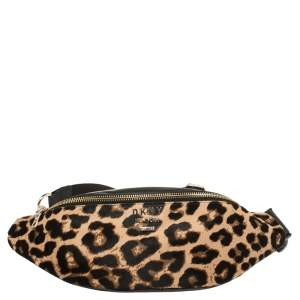 DKNY Black/Brown Leopard Print Leather and Calfhair Kim Belt Bag