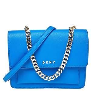 Dkny Blue Leather Mini Bryant Park Flap Crossbody Bag