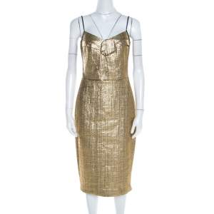 DKNY Metallic Gold Jacquard Basketweave Pleated Bodice Sleeveless Cocktail Dress M