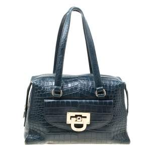 DKNY Blue Croc Embossed Leather Bowler Bag