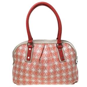 DKNY Red/White Signature PVC and Leather Dome Satchel
