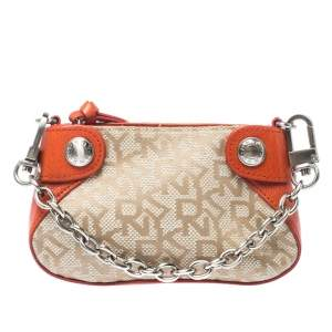 DKNY Orange/Beige Canvas and Leather Chain Purse