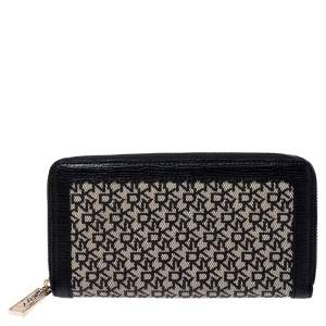 DKNY Beige/Black Canvas and Leather Zip Around Wallet