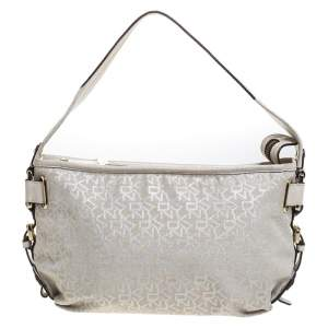 Dkny Ivory Signature Fabric and Leather Shoulder Bag