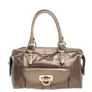 DKNY Metallic Bronze Leather Bowler Bag