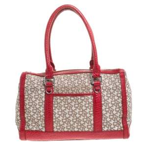 DKNY Beige/Red Canvas and Leather Satchel