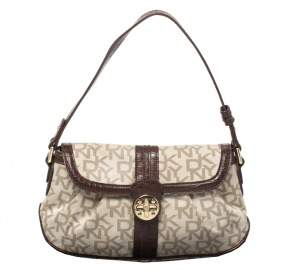 DKNY Beige/Brown Signature Canvas and Croc Embossed Leather Baguette