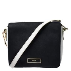 DKNY Black/White Leather Crossbody Bag