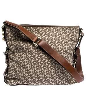 DKNY Beige/Tan Monogram Canvas and Leather Shoulder Bag