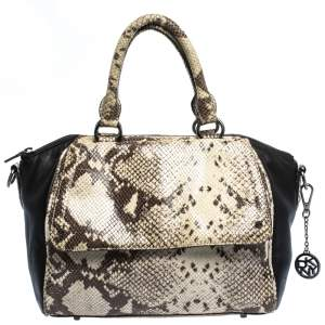 Dkny Beige/Black Python Embossed Leather Satchel