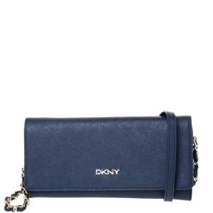 Dkny Navy Blue Leather Flap Wallet On Chain